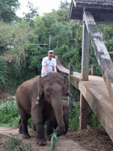 Before almost getting flung from the elephant